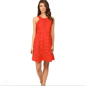 Adelyn Rae Red Lace crochet Fit and Flare …